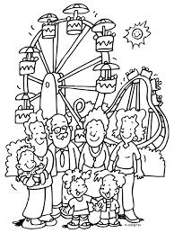 Kleurplaat Familie Gaan Naar Een Pretpark Kleurplatennl