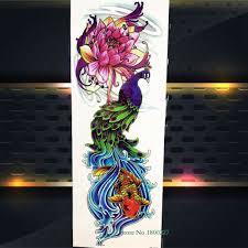 10626 руб 10 скидкамодный цветок лотоса временная татуировка павлин карп рыба