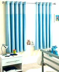 Bedroom With Blue Curtains Kids Short Eyelet And White Striped B ...