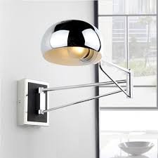 Chrome Wall Sconce Bedside Wall Fixtures Lighting For Bedroom Modern Simple Bedroom Swing Arm Wall Sconces