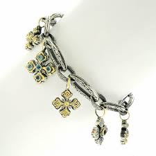 konstantino meval cross sterling gold charm bracelet in excellent condition for in litchfield ct