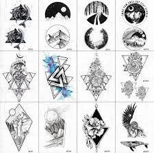 акварельные геометрические волны мужские татуировки на руку наклейки черные