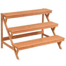 wooden display rack 3 tier wooden stand plant pot holder garden