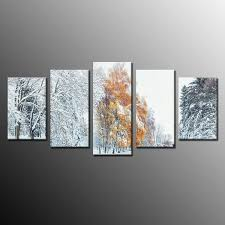 factory best ing oil painting art print on canvas winter snow tree home wall decor no frame 5pcs for singapore factories