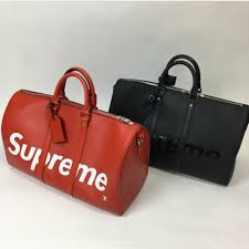 louis vuitton 45 keepall. louis vuitton x supreme red and black epi keepall bandouliere 45 bags \
