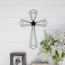 metal wall cross with decorative center star design rustic handcrafted religious wall art for decor in living room by destination home on dot bo