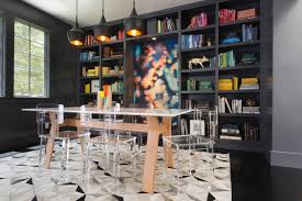 dining room and office. 5 live it up with a library sleek modern dining room and office