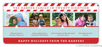 Blue And Red Timeline Holiday Photo Card Holiday Cards