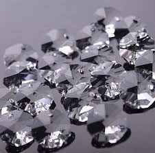 100pcs 14mm octagon glass beads crystal chandelier parts decoration free rings
