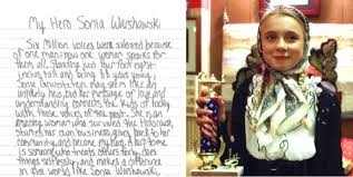 "my hero sonia warshawski"" the heartfelt essay that won this th  olivia dressed as a young sonia her 1st place essay trophy"