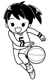 ミニバス少女の白黒イラスト 無料イラストサイトイラぽん