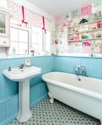 shabby chic bathroom bathroom. Shabby Chic Bathroom Ideas With Blue Wainscoting Patchwork Wallpaper And Floral Tiles Vintage