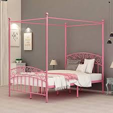 DUMEE Full Size Metal Canopy Bed Frame Platform Sweet Pink Style Mattress Foundation with Headboard and Footboard Girl Princess Beds Box Spring ...