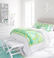 charming bedroom decor with white and green fl bedding by lilly pulitzer bedding plus white wall