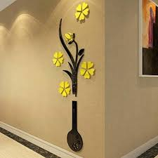 3d flower wall art vase removable mirror sticker home room decal fl canvas details about mural