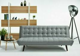 grey fabric sofa bed cushioned wooden