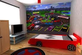 delightful image of sport theme kid bedroom decoration with race car kid room wall mural including