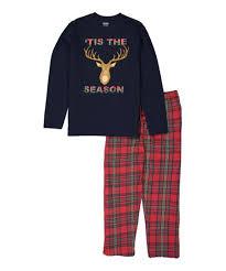 Joe Boxer Blue Red Tis The Season Flannel Pajama Set Men