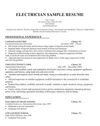 Sample Of Electrician Resumes Electrician Resume Samples Sample Resumes Resume