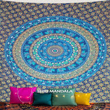 blue base rajasthani hippie mandala wall tapestry