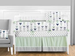 grey navy blue and mint woodland arrow 9 piece crib bed bedding set with per for a newborn baby girl or boy com