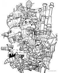Digitale Howls Moving Castle Afdrukbare Kleurplaat Etsy