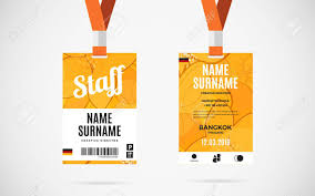 Lanyard Badge Design Event Staff Id Card Set With Lanyard Vector Design And Text