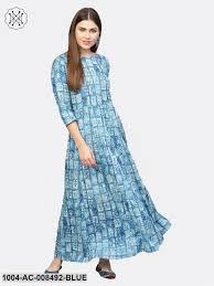 Light Cotton Maxi Dress Light Blue Printed 3 4th Sleeve Cotton Maxi Dress Trendphoria