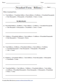 1 billion in standard form standard and expanded word form place value worksheets