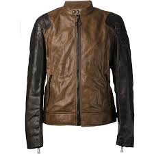dual color er leather jacket