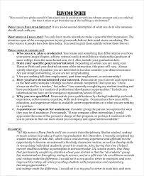 30 Sec Elevator Speech Elevator Speech Examples 9 Free Word Pdf Documents Download