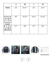 Varsity Jacket Size Chart