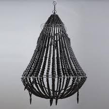 large boho black beaded chandelier lighting