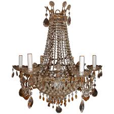 italian chandelier with clear and amber crystal drops and beads for