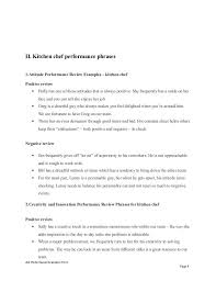 Job Performance Review Samples Ii Kitchen Chef Performance Phrases 1 Attitude Performance Review