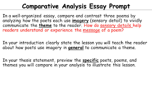 today independent work day finish comparative essay work a  comparative analysis essay prompt in a well organized essay compare and contrast three poems