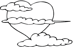 Small Picture Big heart in the clouds coloring page Free Printable Coloring Pages