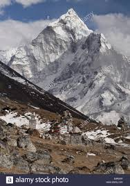 Ama Dablam And Memorial Cairn To Expedition Leader Scott Fischer