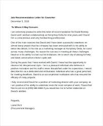 Sample Of A Recommendation Letter Job Recommendation Letter Template Voipersracing Co