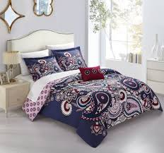 chic home mariko 8 piece reversible duvet cover set large scale paisley print with geometric patterned backing zipper closure bed in a bag bedding sheets