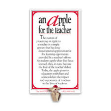 Teacher Message Golden Apple Lapel Pin