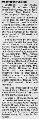 Obituary for IDA RHODES FLEMING, 1907-1995 (Aged 87) - Newspapers.com