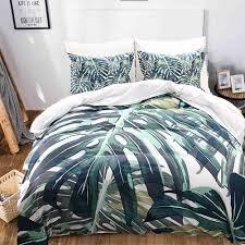 tropical plants bedding set bedroom decor green leaves printed pattern queen size duvet cover set item no 451127