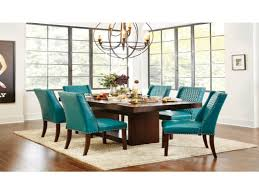 teal dining room chairs elegant miles walnut teal fabric taper back dining chairs