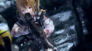 anime gun wallpaper 1920x1080. Plain Anime Anime Girl Military Scared Expression Battlefield Gun On Wallpaper 1920x1080 E