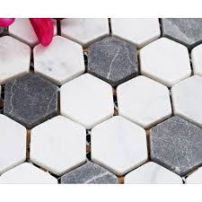 hexagon stone mosaic tiles pattern washroom wall black and cream marble kitchen backsplash floor tiles sgs08c 1