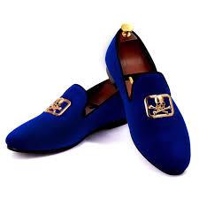 <b>Harpelunde Men Blue</b> Velvet Loafers Skull Buckle <b>Dress</b> Shoes