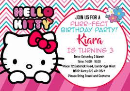 Hello Kitty Party Invitation 8 250 Hello Kitty Birthday Party Customizable Design