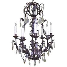 19th c french iron and tole birdcage chandelier