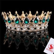 <b>New</b> Emerald Rhinestone Full <b>Crown</b> Crystal <b>Fashion Jewelry</b> Gold ...